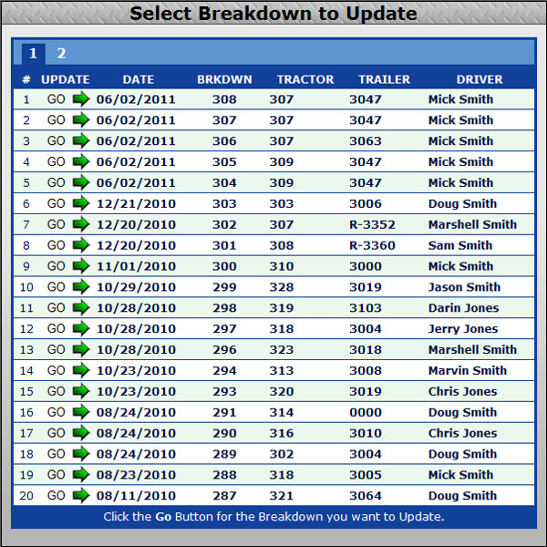 Select Breakdown to Update screenshot for choosing which road breakdown repair or tractor service, you want to update
